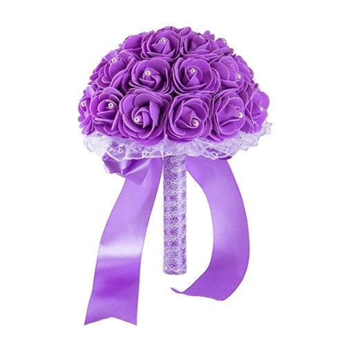 New Handmade Rose Flower Wedding Bouquets | Bridelily - light purple - wedding flowers