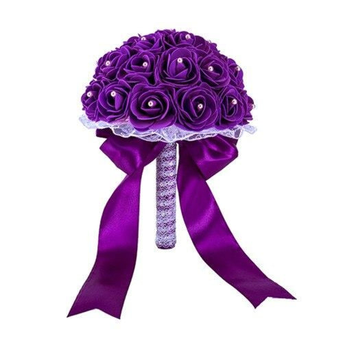 New Handmade Rose Flower Wedding Bouquets | Bridelily - Purple - wedding flowers