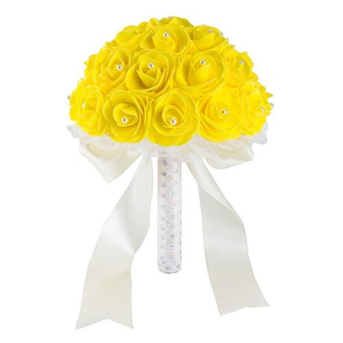 New Handmade Rose Flower Wedding Bouquets | Bridelily - Yellow - wedding flowers