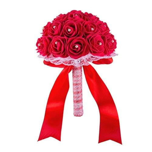 New Handmade Rose Flower Wedding Bouquets | Bridelily - Red - wedding flowers