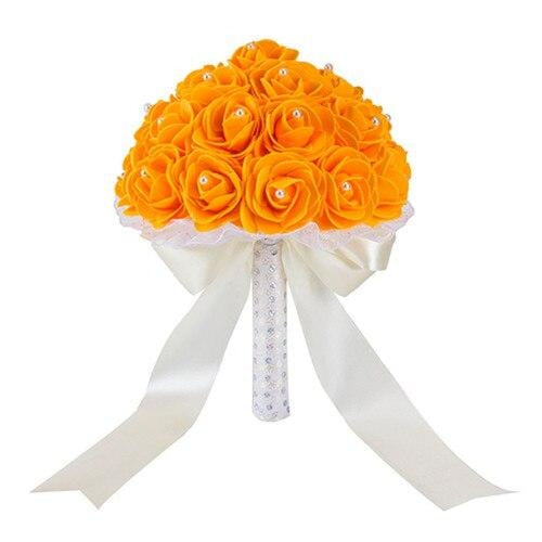 New Handmade Rose Flower Wedding Bouquets | Bridelily - Orange - wedding flowers