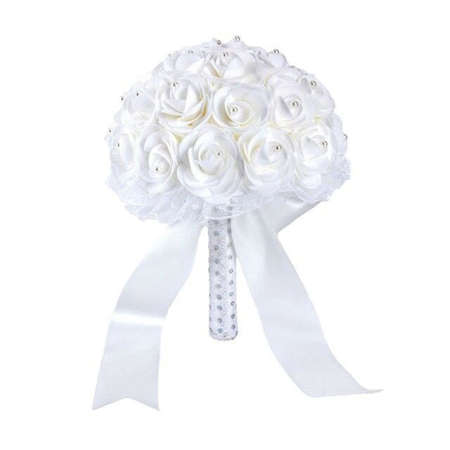 New Handmade Rose Flower Wedding Bouquets | Bridelily - white - wedding flowers