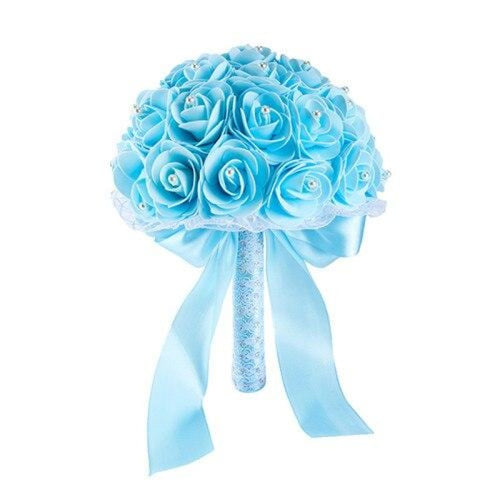 New Handmade Rose Flower Wedding Bouquets | Bridelily - light blue - wedding flowers