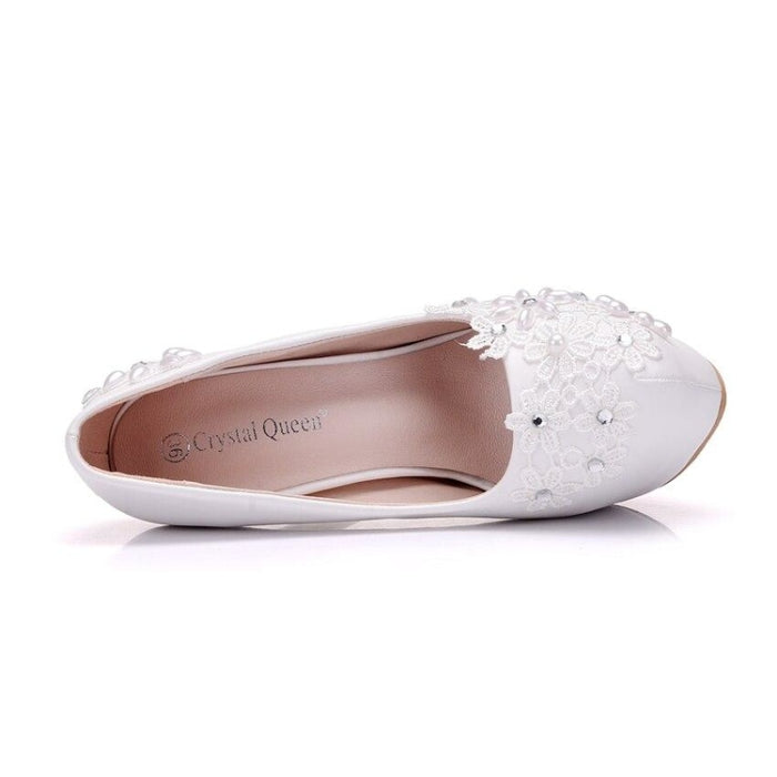 New High Heels Rhinestones Lace Wedding Pumps | Bridelily - wedding pumps