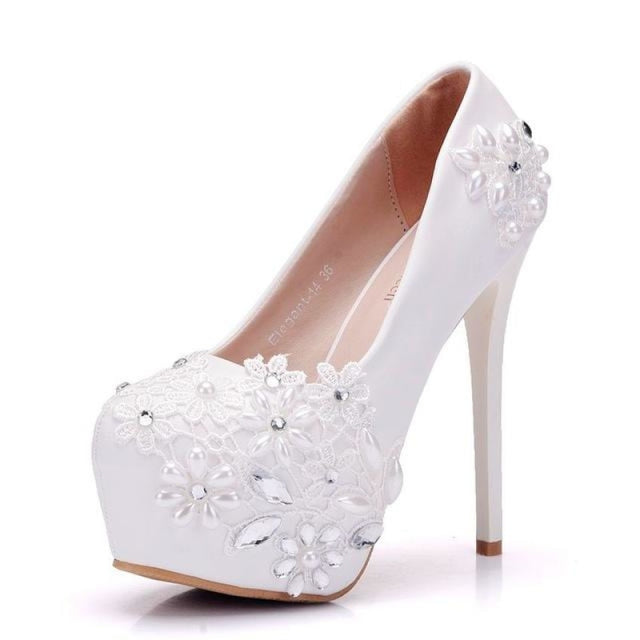 New High Heels Rhinestones Lace Wedding Pumps | Bridelily - 14cm heels / 34 - wedding pumps