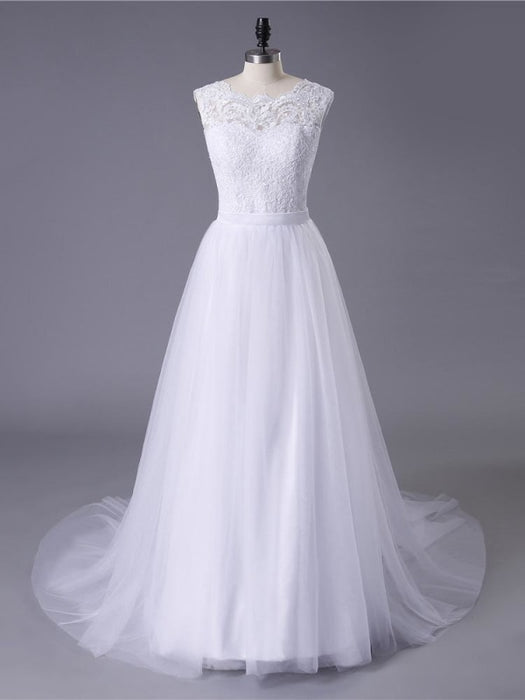New Lace O-Neck Lace Tulle Boho Wedding Dresses