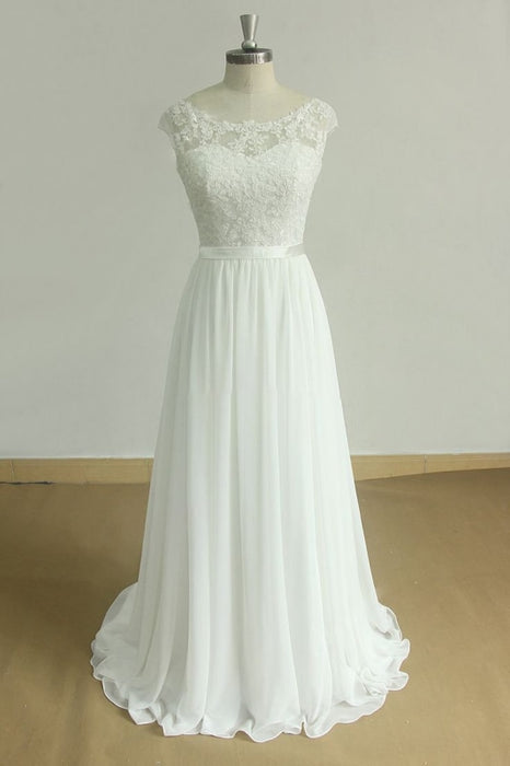 New Lace O-Neck Lace Tulle Boho Wedding Dresses - Ivory - wedding dresses