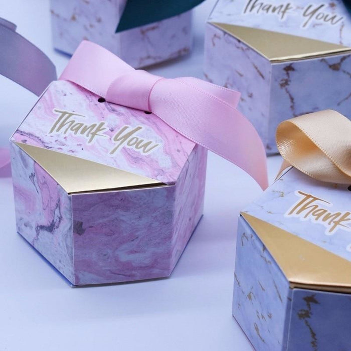 New Marbling Bowknot Candy Boxes Favor Holders | Bridelily - favor holders