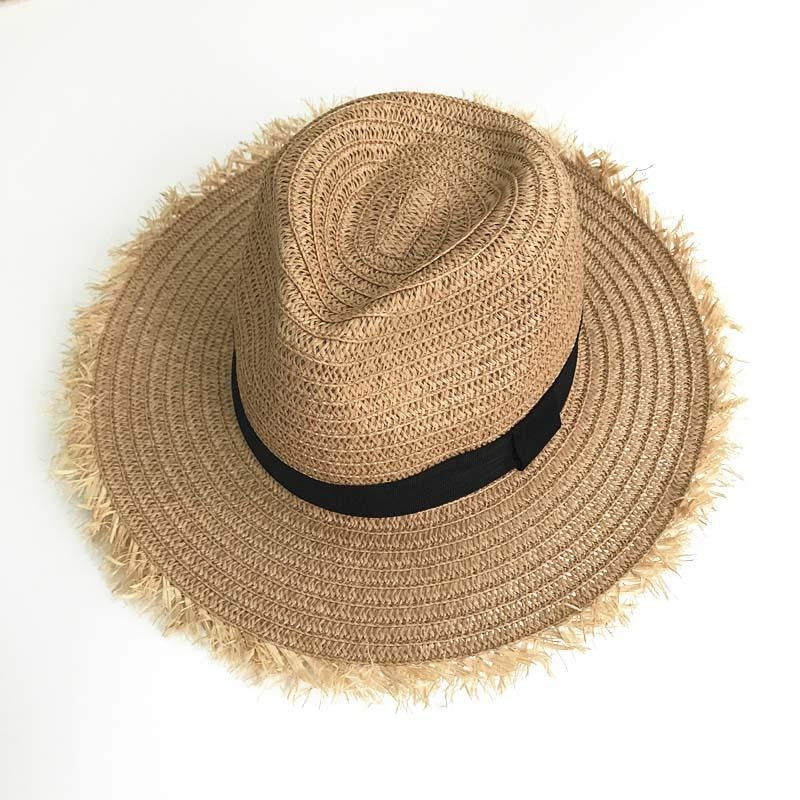 New Natural Wide Brim Straw Plain Beach/Sun Hats | Bridelily - khaki - beach/sun hats