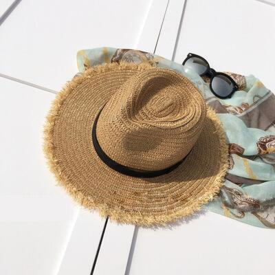 New Natural Wide Brim Straw Plain Beach/Sun Hats | Bridelily - beige - beach/sun hats