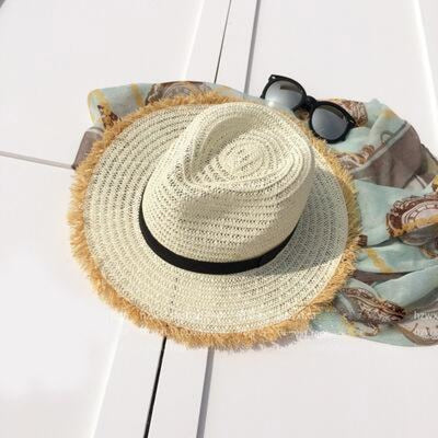New Natural Wide Brim Straw Plain Beach/Sun Hats | Bridelily - milk white - beach/sun hats