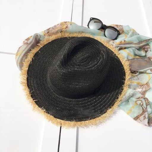 New Natural Wide Brim Straw Plain Beach/Sun Hats | Bridelily - Black - beach/sun hats