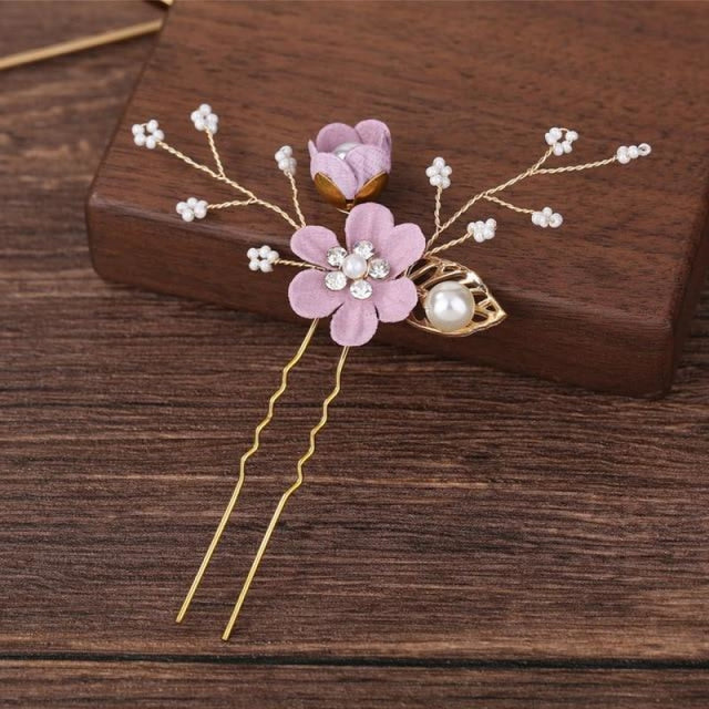 New Pearl Beautiful Floral Headpieces | Bridelily - T 1PC - floral headpieces