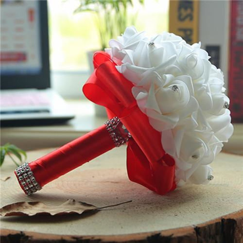 New Perals Wedding Bouquet with Ribbons - Red - wedding flowers
