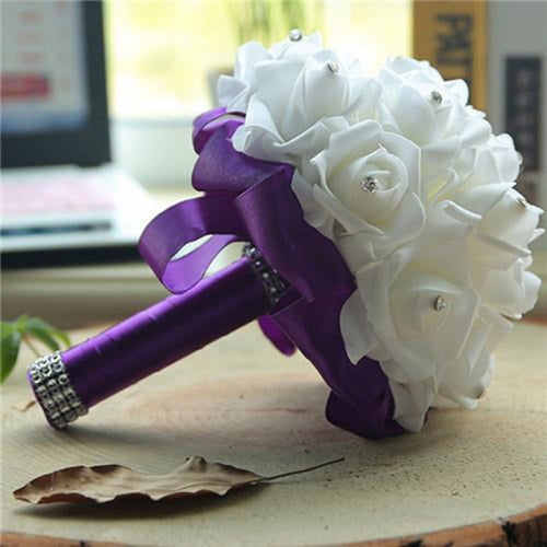 New Perals Wedding Bouquet with Ribbons - Purple - wedding flowers