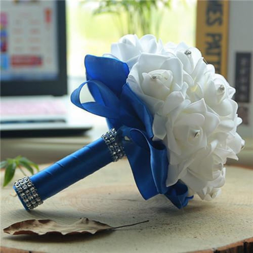 New Perals Wedding Bouquet with Ribbons - royal blue - wedding flowers