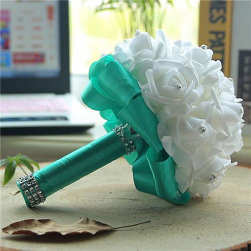 New Perals Wedding Bouquet with Ribbons - green - wedding flowers