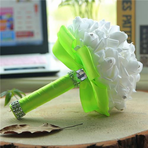 New Perals Wedding Bouquet with Ribbons - light green - wedding flowers