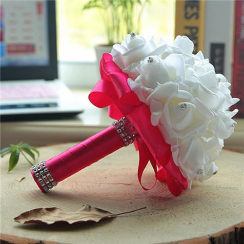 New Perals Wedding Bouquet with Ribbons - rose red - wedding flowers
