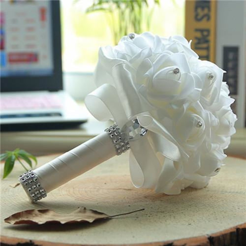 New Perals Wedding Bouquet with Ribbons - WHITE - wedding flowers