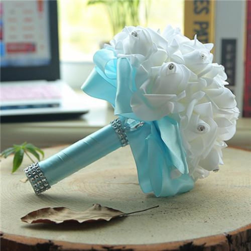New Perals Wedding Bouquet with Ribbons - light blue - wedding flowers