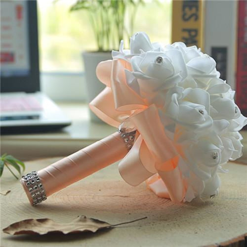 New Perals Wedding Bouquet with Ribbons - champagne - wedding flowers