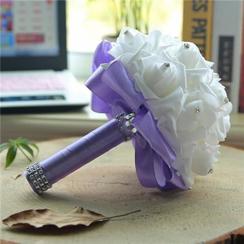 New Perals Wedding Bouquet with Ribbons - light purple - wedding flowers