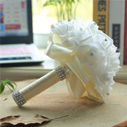 New Perals Wedding Bouquet with Ribbons - Ivory - wedding flowers