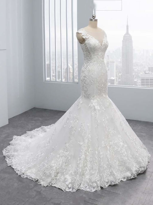 New V-Neck Lace Mermaid Wedding Dresses - wedding dresses