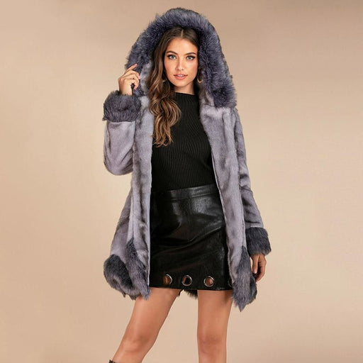 New Work Fluffy Cute Warm Outer Coats - womens furs & leathers