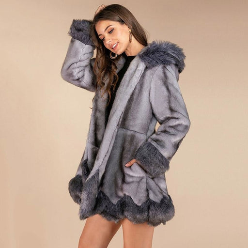 New Work Fluffy Cute Warm Outer Coats - Gray / S - womens furs & leathers