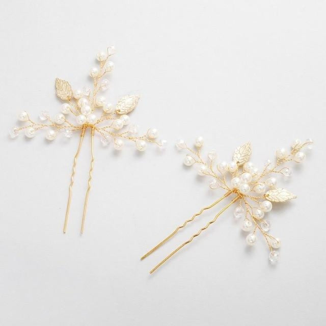 Newest 2 Pcs/Lot Handmade Crystal Hairpins | Bridelily - 2pcs Gold - hairpins
