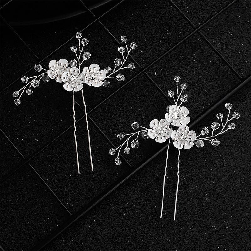 Newest 2Pcs/lot White Flower Handmade Hairpins | Bridelily - hairpins