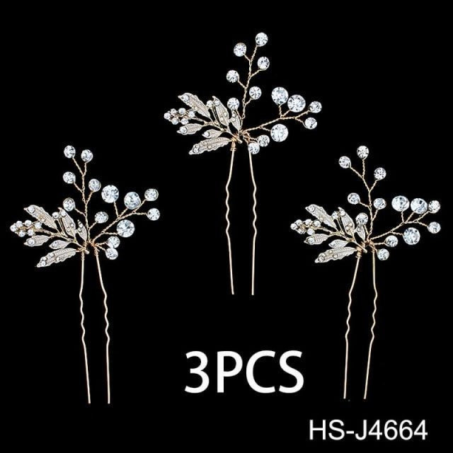 Newest Crystal Leaves Jewelry Combs & Barrettes | Bridelily - 3PCS Hairpins - combs and barrettes