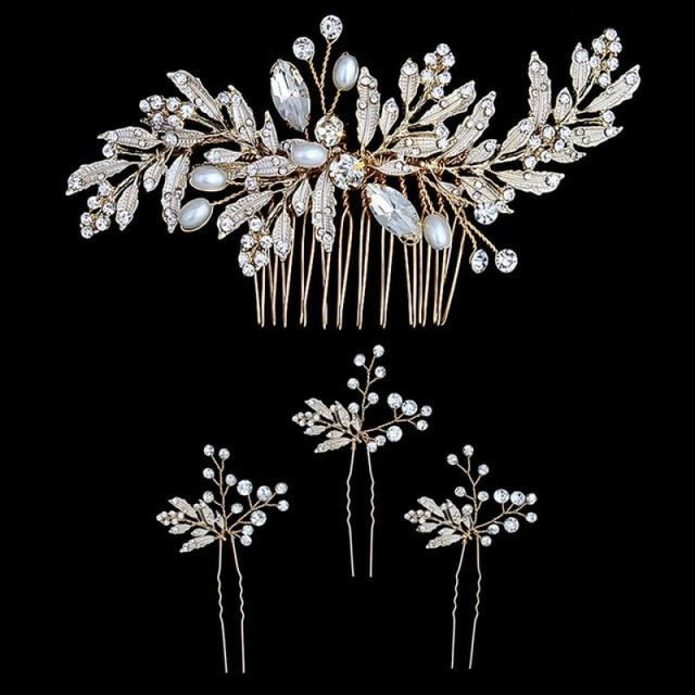 Newest Crystal Leaves Jewelry Combs & Barrettes | Bridelily - Comb and 3PCS Pins - combs and barrettes