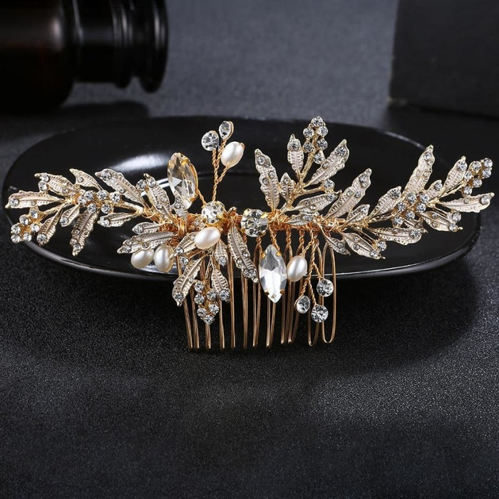 Newest Crystal Leaves Jewelry Combs & Barrettes | Bridelily - combs and barrettes