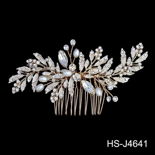 Newest Crystal Leaves Jewelry Combs & Barrettes | Bridelily - Hair Comb - combs and barrettes