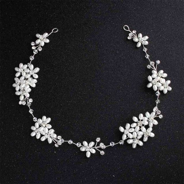 Newest Fashion Crystal Pearls Flower Headbands | Bridelily - White - headbands