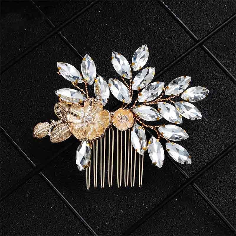 Newest Fashion Flower Rhinestone Combs & Barrettes | Bridelily - Gold - combs and barrettes