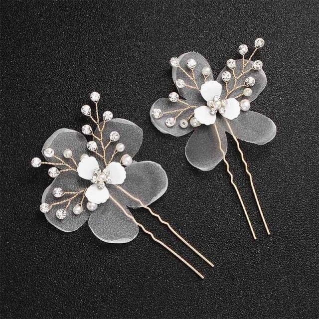 Newest Fashion Handmade Flowers Womens Hairpins | Bridelily - 2pcs Gold 1 - hairpins