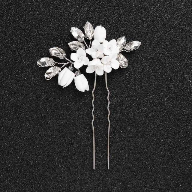 Newest Fashion Handmade Flowers Womens Hairpins | Bridelily - 1pc Silver 1 - hairpins