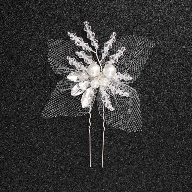 Newest Fashion Handmade Flowers Womens Hairpins | Bridelily - 1pc Silver - hairpins