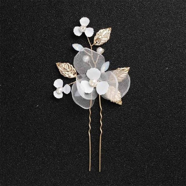 Newest Fashion Handmade Flowers Womens Hairpins | Bridelily - 1pc Gold 2 - hairpins