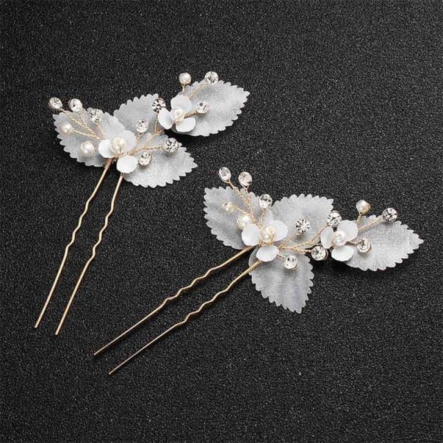 Newest Fashion Handmade Flowers Womens Hairpins | Bridelily - 2pcs Gold 2 - hairpins