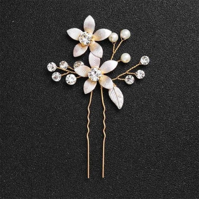 Newest Fashion Handmade Flowers Womens Hairpins | Bridelily - 1pc Gold 4 - hairpins