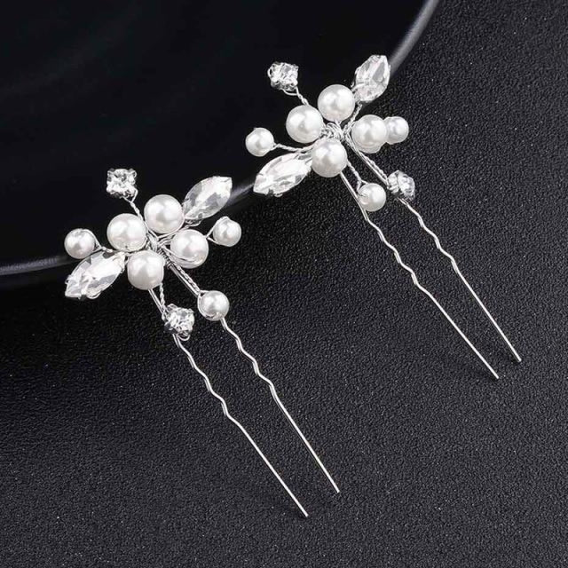 Newest Fashion Handmade Flowers Womens Hairpins | Bridelily - 2pcs Gold - hairpins