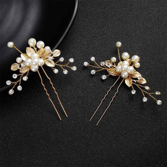 Newest Fashion Handmade Flowers Womens Hairpins | Bridelily - 2pcs Gold 5 - hairpins