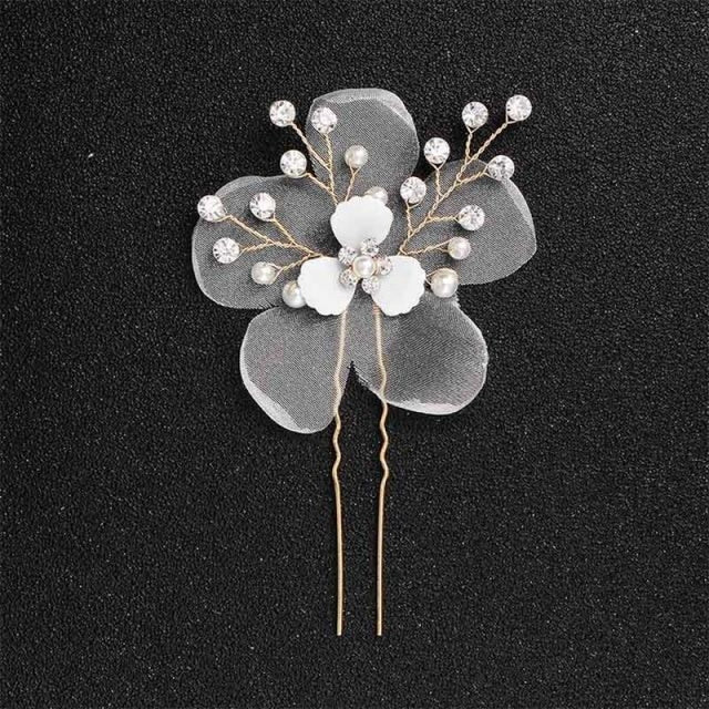Newest Fashion Handmade Flowers Womens Hairpins | Bridelily - 1pc Gold - hairpins