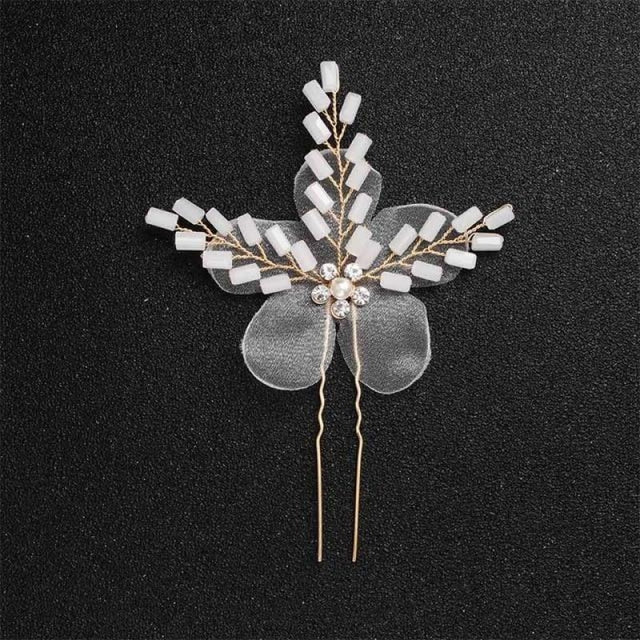 Newest Fashion Handmade Flowers Womens Hairpins | Bridelily - 1pc Gold 3 - hairpins