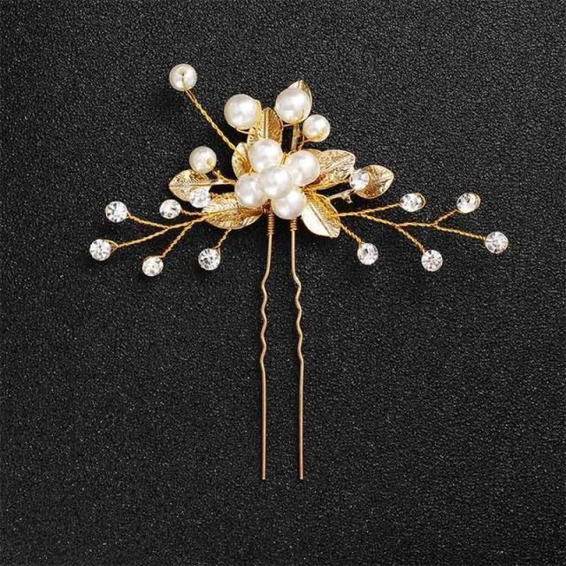 Newest Fashion Handmade Flowers Womens Hairpins | Bridelily - 1pc Gold 6 - hairpins